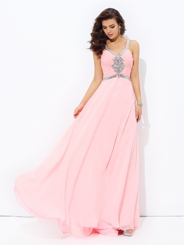 A-line/Princess Straps Chiffon Sleeveless Floor-length Prom Dresses