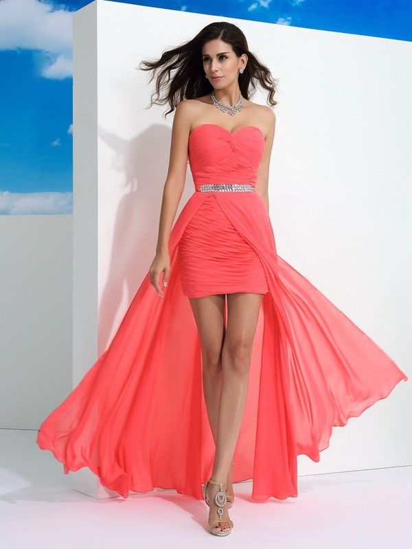 Sheath/Column Sweetheart Chiffon Sleeveless Floor-Length Prom Dresses