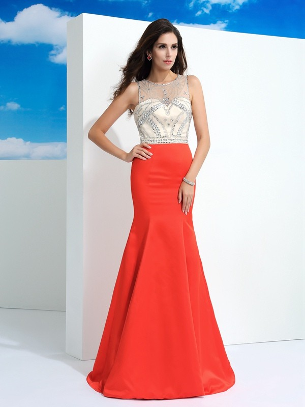Trumpet/Mermaid Sheer Neck Satin Sleeveless Floor-Length Prom Dresses