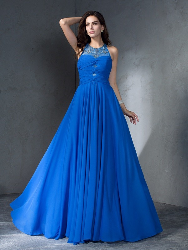 A-Line/Princess Scoop Chiffon Sleeveless Sweep/Brush Train Prom Dresses
