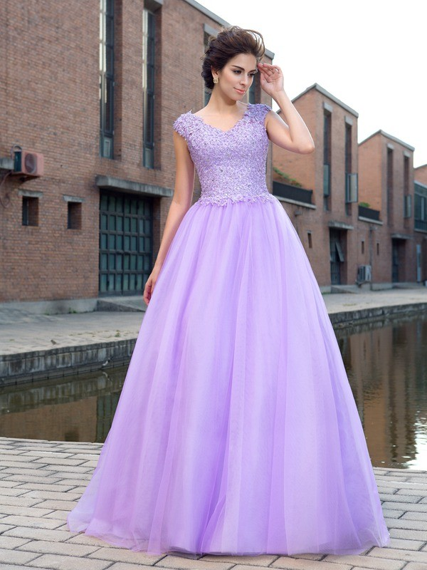 Ball Gown V-neck Net Short Sleeves Floor-Length Prom Dresses