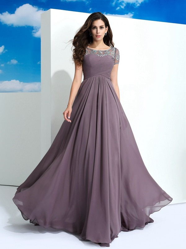 A-Line/Princess Sheer Neck Chiffon Short Sleeves Floor-Length Prom Dresses