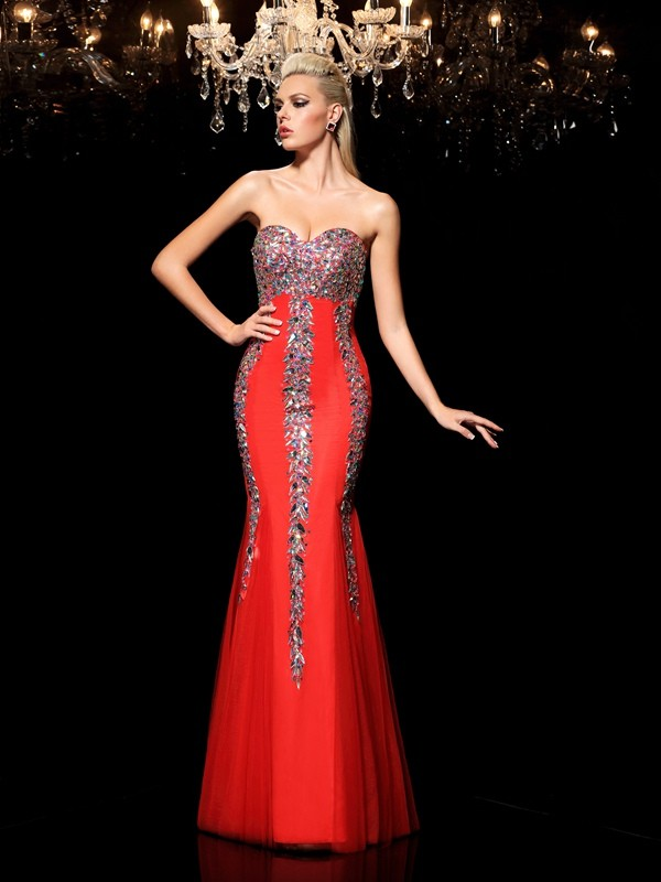 Sheath/Column Sweetheart Net Sleeveless Floor-Length Prom Dresses