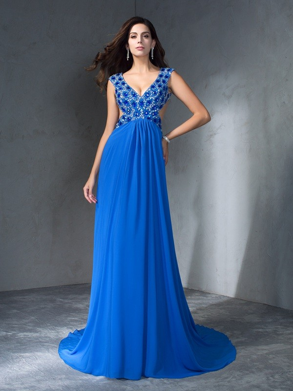 A-Line/Princess V-neck Chiffon Sleeveless Sweep/Brush Train Prom Dresses
