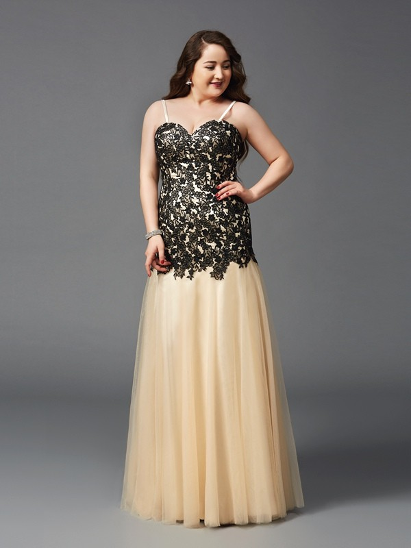 Sheath/Column Spaghetti Straps Net Sleeveless Floor-Length Prom Dresses