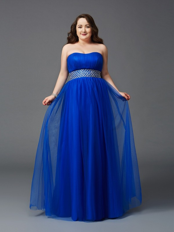 A-Line/Princess Strapless Net Sleeveless Floor-Length Prom Dresses