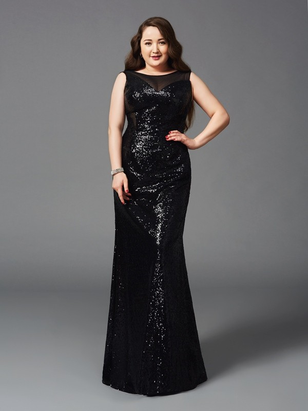 Sheath/Column Scoop Sequin Sleeveless Floor-Length Prom Dresses
