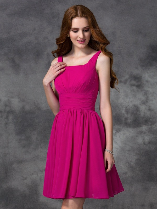 A-line/Princess Square Chiffon Sleeveless Short/Mini Bridesmaid Dresses