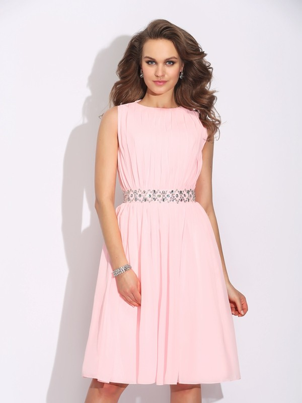 A-Line/Princess Jewel Chiffon Sleeveless Knee-Length Cocktail Dresses