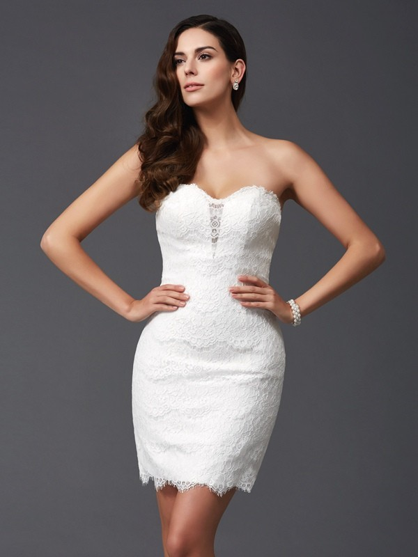 Sheath/Column Sweetheart Lace Sleeveless Short/Mini Cocktail Dresses