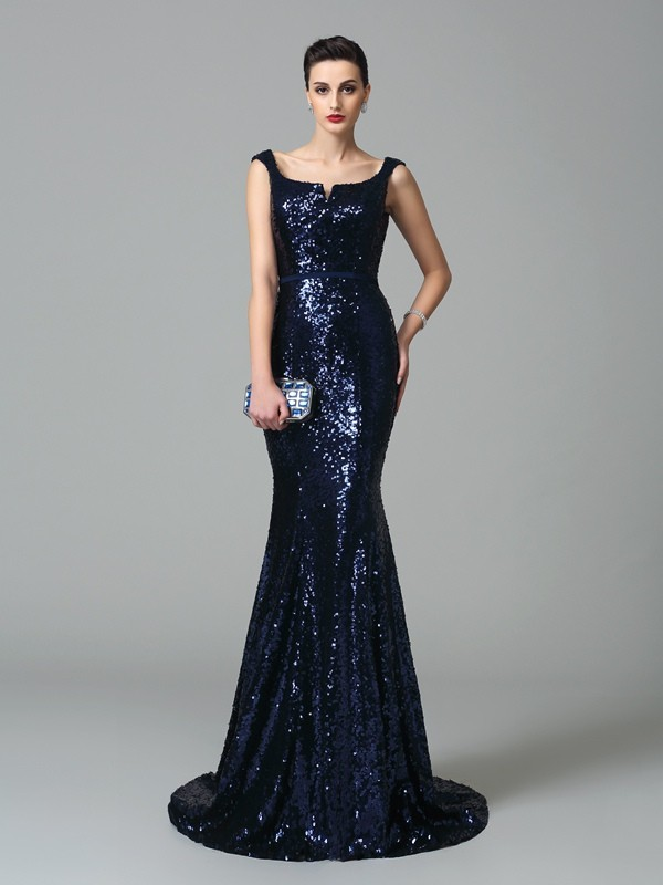 Trumpet/Mermaid Straps Sequin Sleeveless Sweep/Brush Train Evening Dresses