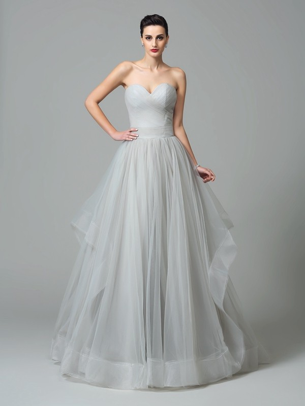A-Line/Princess Sweetheart Net Sleeveless Sweep/Brush Train Evening Dresses
