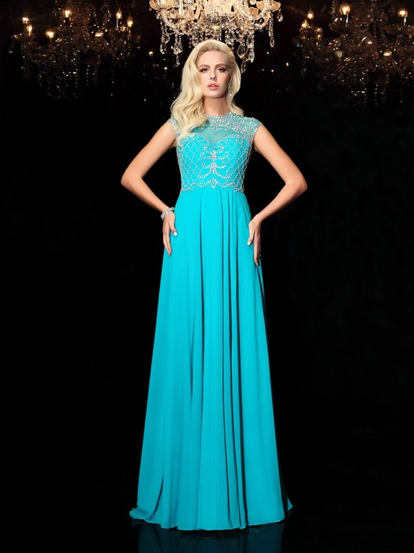 A-Line/Princess Jewel Chiffon Short Sleeves Floor-Length Evening Dresses