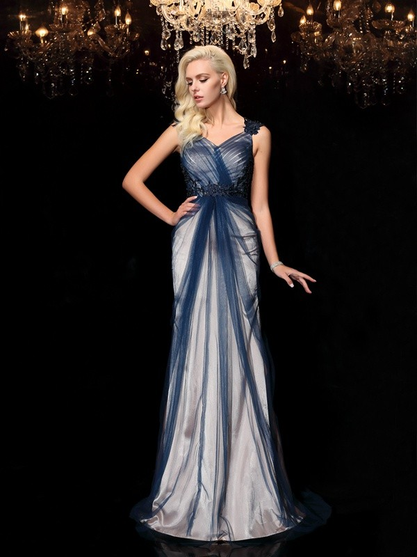 Sheath/Column Straps Elastic Woven Satin Sleeveless Sweep/Brush Train Evening Dresses