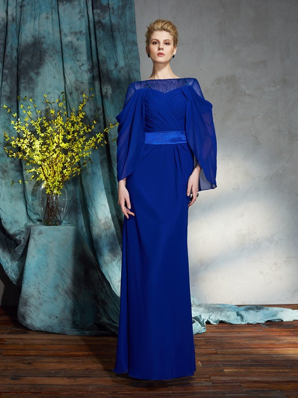 Sheath/Column Bateau Chiffon Long Sleeves Floor-Length Evening Dresses