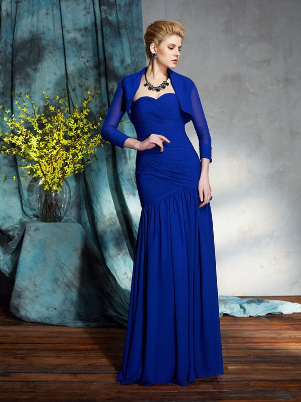 Sheath/Column Sweetheart Chiffon Sleeveless Floor-Length Mother of the Bride Dresses