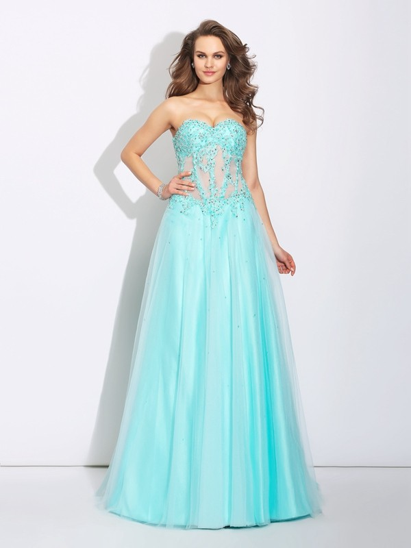 A-Line/Princess Sweetheart Net Sleeveless Sweep/Brush Train Prom Dresses