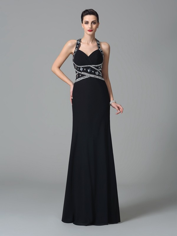 Sheath/Column Straps Chiffon Sleeveless Floor-Length Prom Dresses