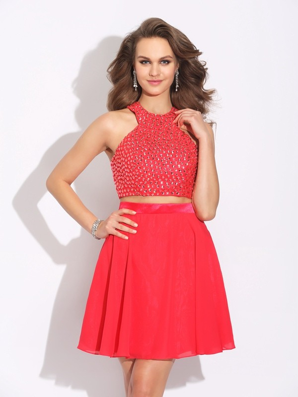 A-Line/Princess Jewel Chiffon Sleeveless Short/Mini Prom Dresses