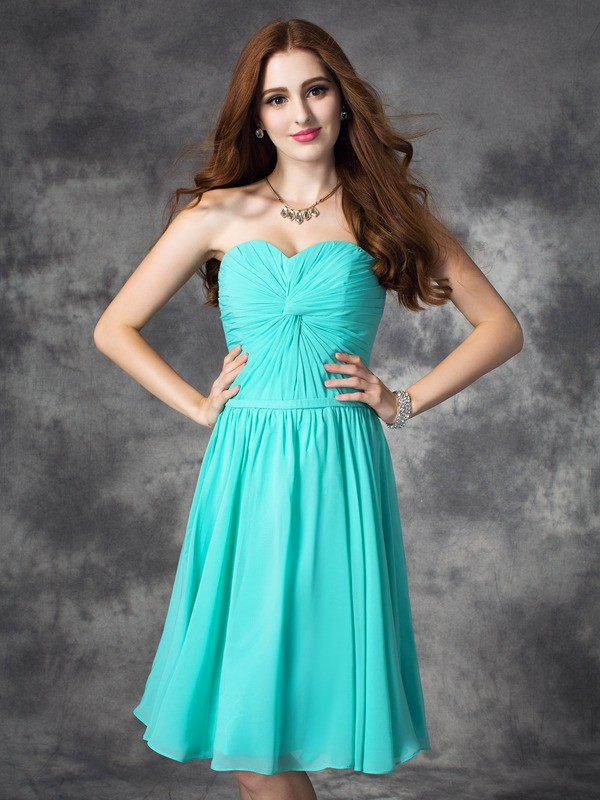 A-line/Princess Sweetheart Chiffon Sleeveless Knee-Length Prom Dresses