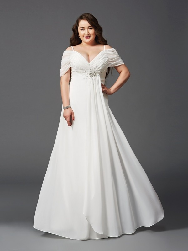 A-Line/Princess Off the Shoulder Chiffon Short Sleeves Floor-Length Prom Dresses