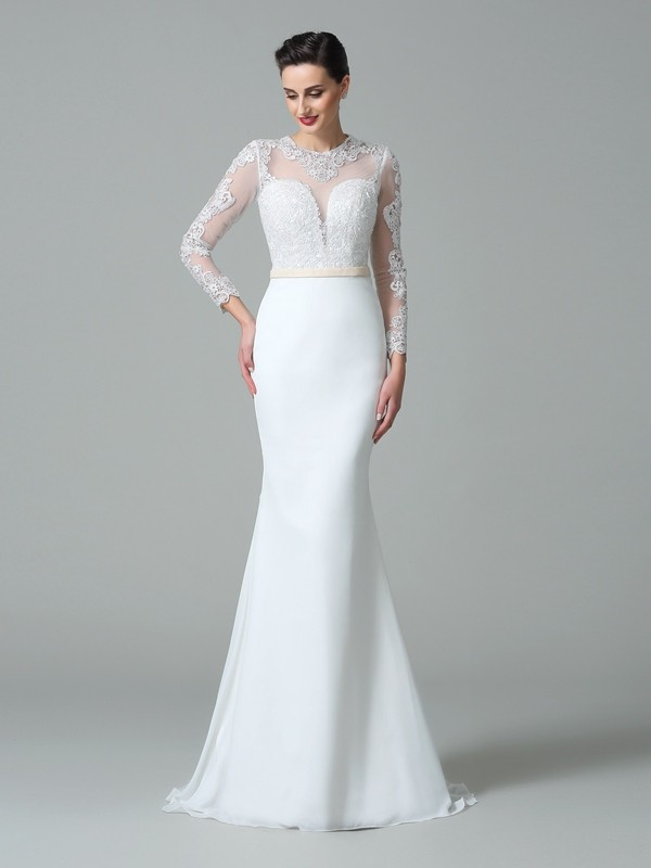 Trumpet/Mermaid Jewel Satin Long Sleeves Sweep/Brush Train Wedding Dresses