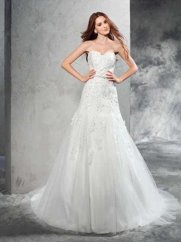 Sheath/Column Sweetheart Satin Sleeveless Court Train Wedding Dresses