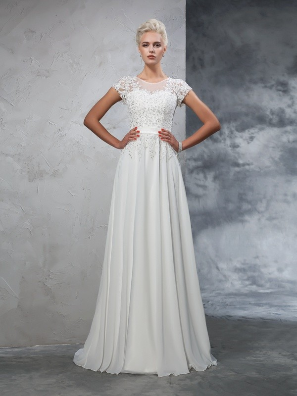 A-Line/Princess Sheer Neck Chiffon Short Sleeves Sweep/Brush Train Wedding Dresses