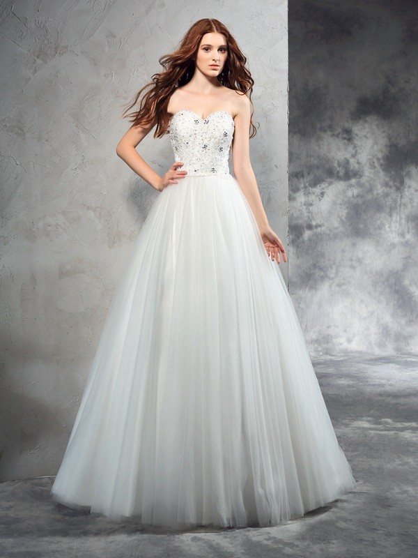 A-Line/Princess Sweetheart Net Sleeveless Floor-Length Wedding Dresses