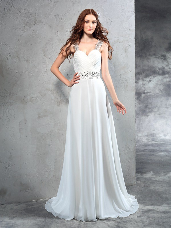 A-Line/Princess Sweetheart Chiffon Sleeveless Sweep/Brush Train Wedding Dresses