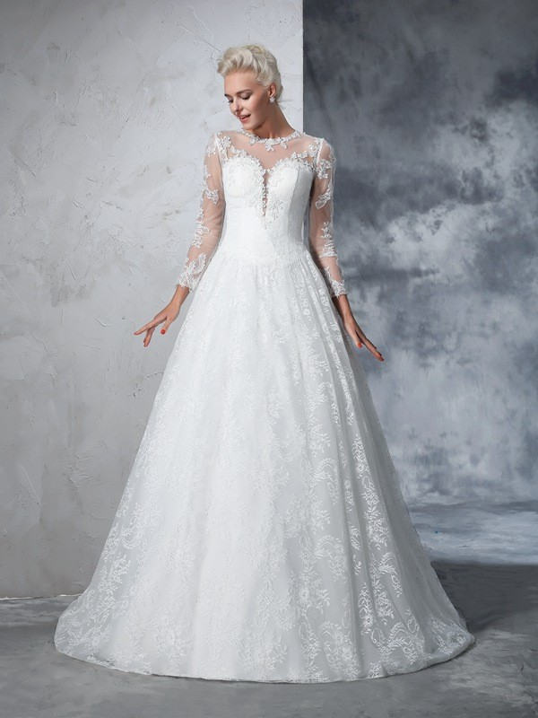 Ball Gown Jewel Lace Long Sleeves Court Train Wedding Dresses