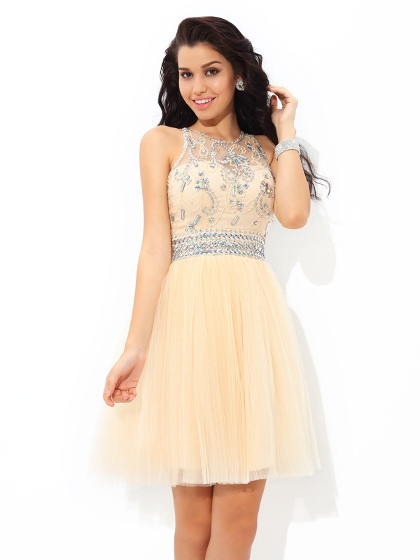 A-Line/Princess Sheer Neck Net Sleeveless Short/Mini Cocktail Dresses