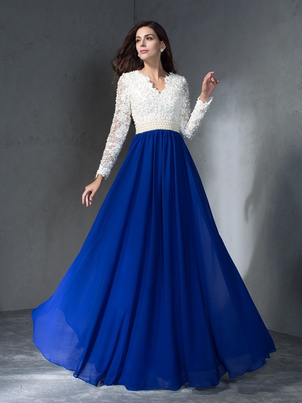 A-Line/Princess V-neck Chiffon Long Sleeves Floor-Length Evening Dresses