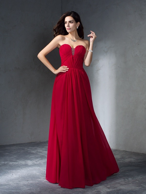 A-Line/Princess Sweetheart Chiffon Sleeveless Floor-Length Prom Dresses