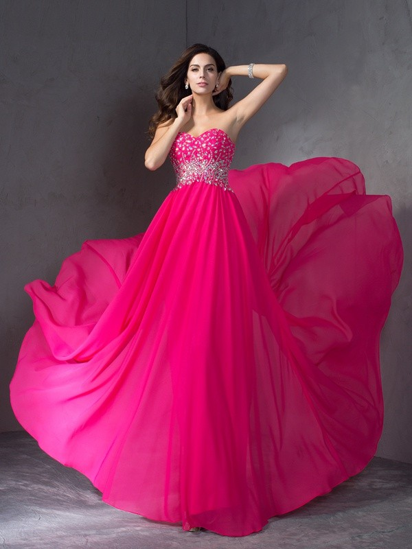 A-Line/Princess Sweetheart Chiffon Sleeveless Sweep/Brush Train Prom Dresses