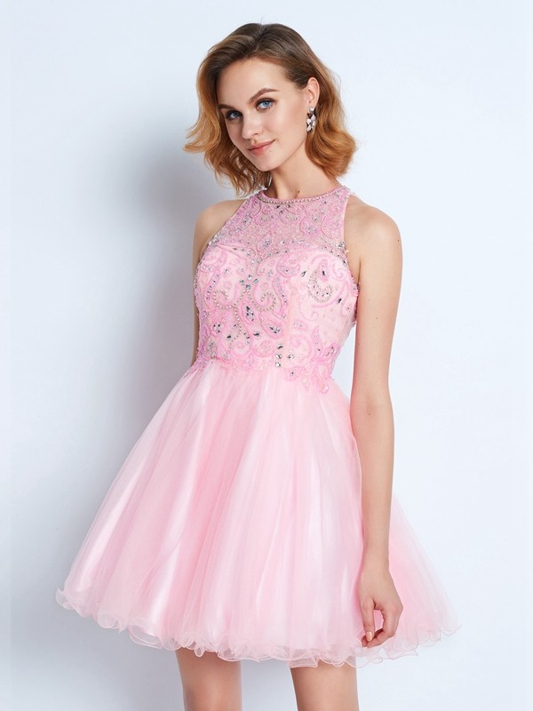 A-Line/Princess Jewel Net Sleeveless Short/Mini Homecoming Dresses
