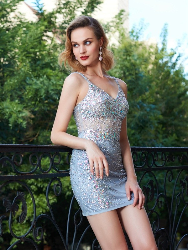 Sheath/Column Spaghetti Straps Net Sleeveless Short/Mini Homecoming Dresses