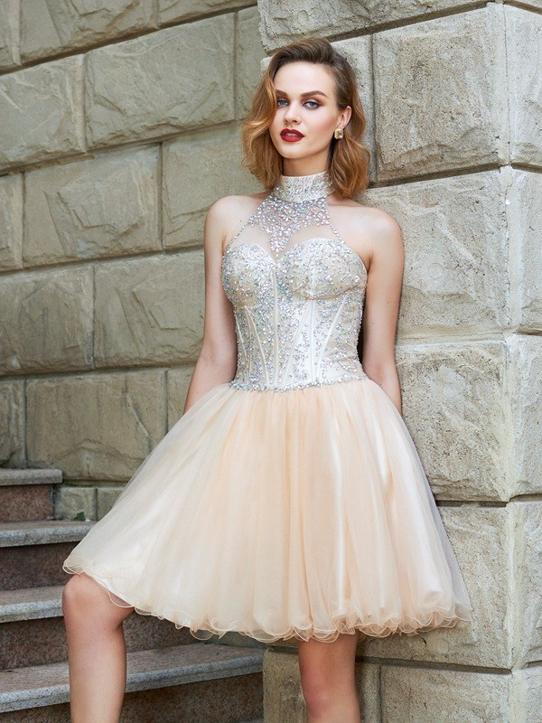 A-Line/Princess Halter Net Sleeveless Short/Mini Homecoming Dresses