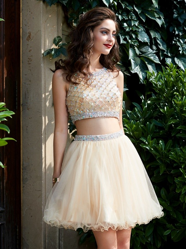 A-Line/Princess Scoop Net Sleeveless Short/Mini Homecoming Dresses