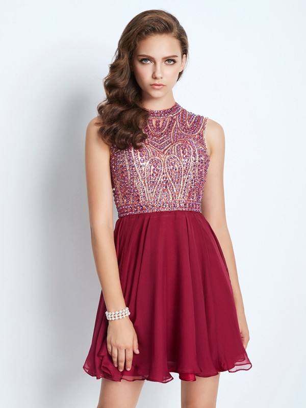 A-Line/Princess Jewel Chiffon Sleeveless Short/Mini Homecoming Dresses