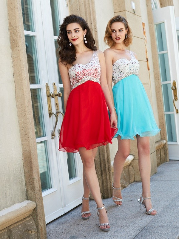 A-Line/Princess One-Shoulder Chiffon Sleeveless Short/Mini Homecoming Dresses