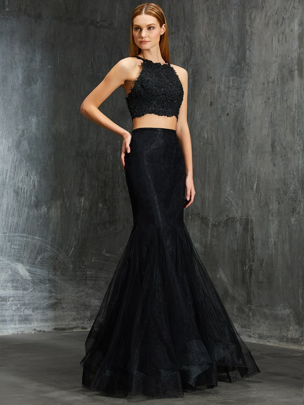 Trumpet/Mermaid Spaghetti Straps Net Sleeveless Floor-Length Prom Dresses