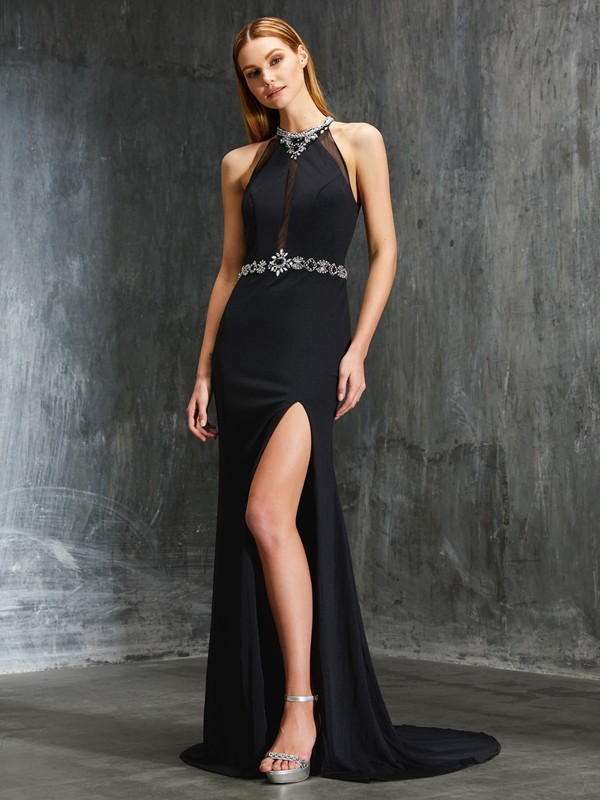 Sheath/Column High Neck Spandex Sleeveless Sweep/Brush Train Prom Dresses