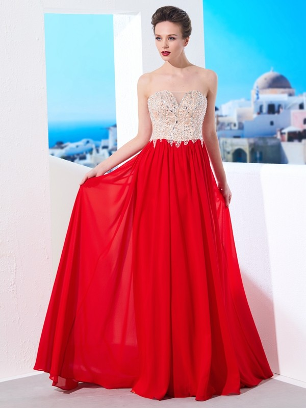 A-Line/Princess Strapless Chiffon Sleeveless Sweep/Brush Train Prom Dresses