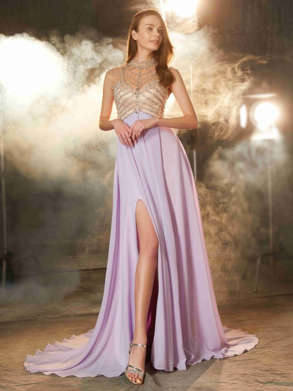 A-Line/Princess High Neck Chiffon Sleeveless Sweep/Brush Train Prom Dresses
