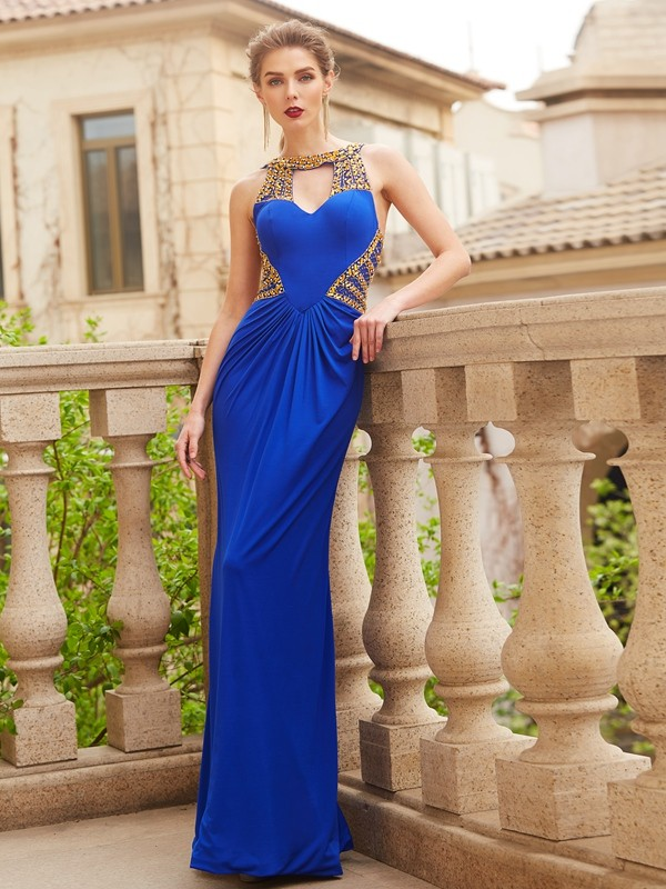 Sheath/Column Scoop Spandex Sleeveless Floor-Length Prom Dresses