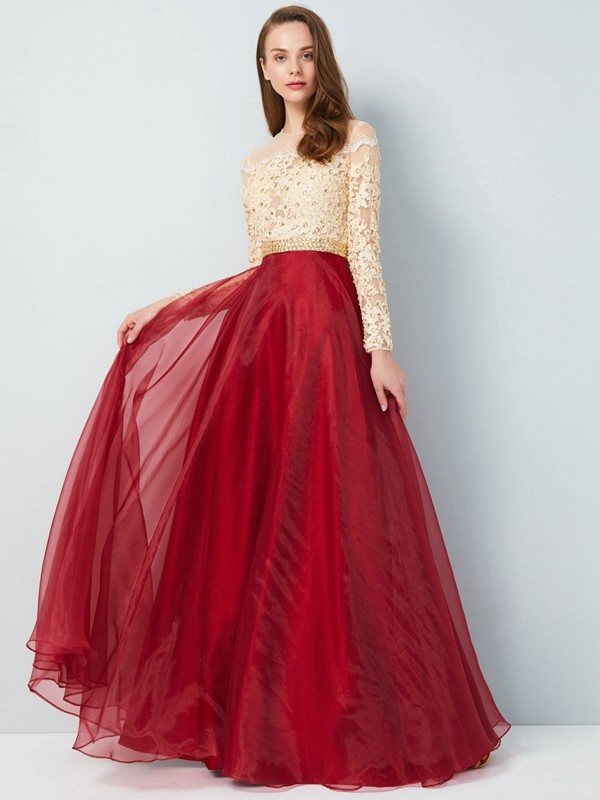 A-Line/Princess Sheer Neck Organza Long Sleeves Floor-Length Prom Dresses