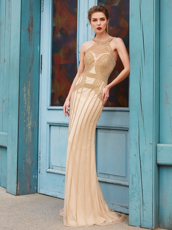 Sheath/Column High Neck Net Sleeveless Sweep/Brush Train Prom Dresses