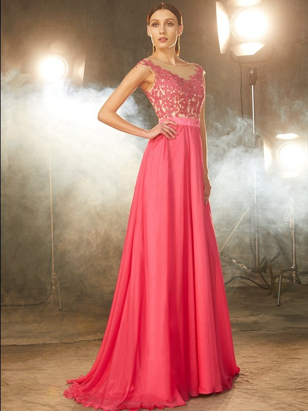A-Line/Princess Sheer Neck Chiffon Sleeveless Sweep/Brush Train Prom Dresses