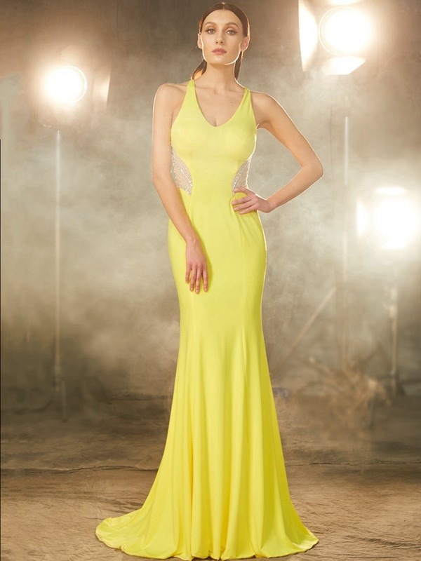 Trumpet/Mermaid V-neck Spandex Sleeveless Sweep/Brush Train Prom Dresses